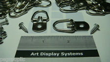 """10 LARGE 1 3/4"""" HEAVY DUTY D-RING PICTURE HANGERS +  # 8  1/2"""" SCREWS + SAMPLES"""