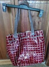 NWT BAGTIQUE BROWN CROC FAUX LEATHER DRAWSTRING HANDBAG