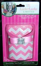 NEW LOCKER LOOKZ LIMITED COOL BIN FOR SCHOOL LOCKER PINK CHEVRON SPARKLE ~RARE~