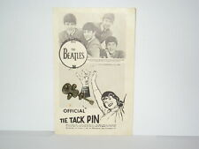 1964 Beatles Official Tie Tack Pin On Card