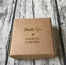40x Gold Foil Kraft Wedding Thank You Gift Boxes Personalised Christening Favors