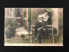 Vintage Trichromatic Postcard WHO IS IT? Man Reading, Lady Sneaking Up JWS2479
