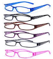 Slim Reading Glasses form 0.0 to  4.00 Unisex Trendy Designer Spring Geek Le