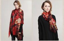Pure Wool Women Floral Warm Scarf Shawl Wrap Stole - Red from Mongolia
