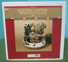Fiber Optic Christmas House Train Station Winter Town Holiday Village Electric