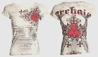 Archaic AFFLICTION Women T-Shirt VERWOOD Rhinestones Biker Sinful S-XL $40 b
