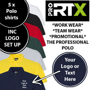 5 x Embroidered Logo Custom Branded Polo Workwear Shirt Personalised Top