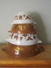 COMPLETE SET OF VINTAGE EARLY AMERICAN PYREX CINDERELLA MIXING BOWLS- VERY GOOD