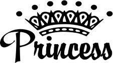 "Princess Crown Decal Sticker Car Truck Window- 6"" Wide White Color"
