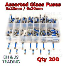 200 un. Assorted Vidrio Fusibles 5x20mm 6x30mm Caja Fusible Rápido Soplar Tubo de acción rápida