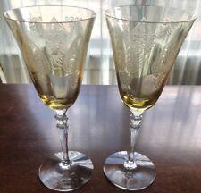 "ANTIQUE Fostoria YELLOW Depression GLASS Trojan STEM Water GOBLET 8.25"" Lot"