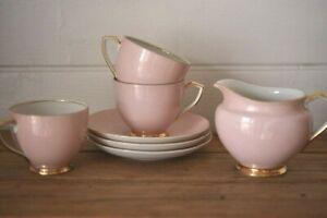 Art Deco 1920s pink x 3 tea cups saucers milk jug fine china Victoria Czechoslov