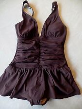 NEW ladies SHAPE FX 1 PIECE SWIMSUIT brown ROUCHING skirt SWIM DRESS SZ 8 medium