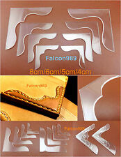 8 Pcs Leathercraft Acrylic Bag Wallet Corner Decoration Pattern Stencil Template