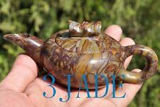 Hand Carved Natural Jasper / Bamboo Stone Tea Pot