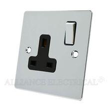 Polished Mirror Chrome Flat Socket 1 Gang - 13 Amp Single 1G Plug Outlet Point