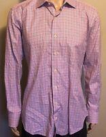 Peter Millar Men's Long Sleeve Button Front Plaid Shirt Large Pink Fuchsia Blue
