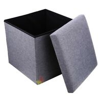 Single Folding Storage Pouffe Cube Foot Stool Seat Ottoman Footstool Toy Box UK