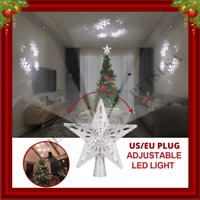 3D Glitter Star LED Christmas Tree Topper Snowflake Projector Tree Ornament Xmas