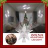 3D Glitter Star LED Christmas Tree Topper Snowflake Projector Tree Ornament Xmas