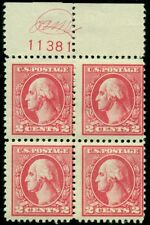 US #528 2¢ carmine, type Va, Monogram Plate No. Blk of 4, NH/LH, F/VF