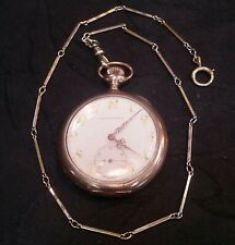 """Vintage 14k Solid 2-tone White / Yellow Bar Links Pocket Watch Vast Chain 15"""" L"""