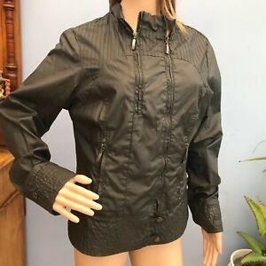 Next Jeans Black Waxed Cotton Zip Jacket Size 16