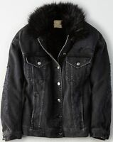 American Eagle Womens Faux Fur Destroyed Denim Boyfriend Jacket - S M L XL 2XL