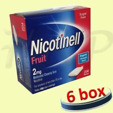 6 x Nicotinell Fruit 2mg Medicated Chewing Gum 204 Pieces 04/2021