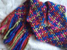 Women's Girl's Multi Coloured Plaited Braided Chunky Knit Fringe Wrap Scarf