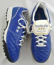 Pantafolo D'Oro Priet Blue & White Italian Leather Football Boots Size 6 EU 39