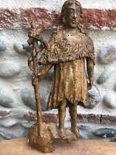 RARE Très Belle Statue Sculpture Saint Jean Baptiste Bois XVII  Bâton Procession