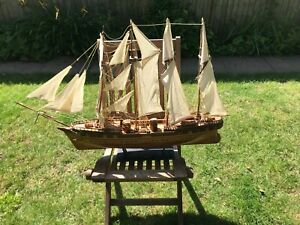 LARGE WOODEN SAILING SHIP 38 INCHES LENGTH NAME ???