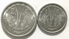 French Equatorial Africa 1948 Set of 2 Coins,1,2 Francs,UNC