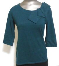 9-H15 STCL  Green XS Cotton  Accented Scoop Neck 3/4 length Sleeves Top Career