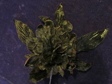 "Millinery Flower All Black 5"" Peony Velvet Chiffon for Hat Wedding + Hair Y235"