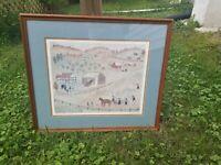 "Vintage Xtian Newswanger Signed Print ""Amishland"" Fall Harvest framed 27"" x 24"""