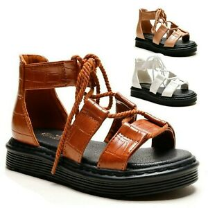 Girls Gladiator Sandals Lace Ankle Kids Strap Summer Holiday Casual Shoes Size
