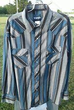 Vintage Men's WRANGLER Western Shirt Blue Black & Gray Stripes 17x34 PEARL SNAP