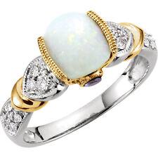 Genuine Opal Tanzanite and 1/6 CTW Diamond Ring 14kt White & Yellow Gold