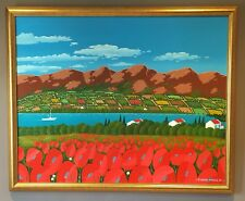 Original Irish Art Oil On Canvas Painting Poppies & Landscape By Eugene McGuile