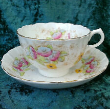 VINTAGE Royal Albert Crown China tazza da té PIATTINO FLOREALE Scanalati Gold RIM 900