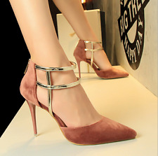 Fashion Women's Cross Pumps Pointed Stiletto Suede High Heel Party Shoes Sandals