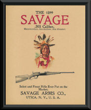 1899 Savage Rifle Hunting Advertisement Reprint On 90 Year Old Paper 087