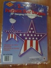 "30"" Patriotic Star Danglers Hanging Decoration 1970 Beistle 2 Pack Nos"