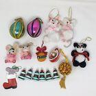 Vintage 70s 80s Lot 16 Christmas Ornaments Handmade Crafts Beaded, Mouse, Felt