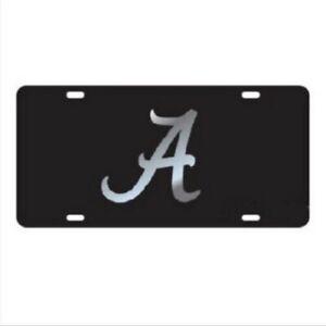 UNIVERSITY OF ALABAMA Crimson Tide Black Mirrored License Plate / Tag