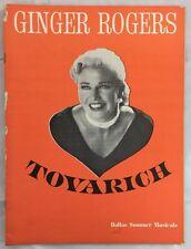 1964 Program Dallas State Fair Musicals Ginger Rogers Tovarich