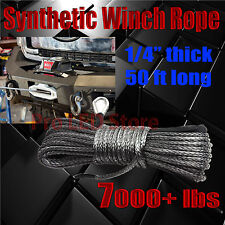 "50'X1/4""Dyneema Synthetic Winch Rope Cable 7000 LBs ATV SUV Recovery Replacement"