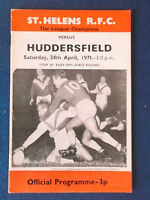 St Helens v Huddersfield 24/4/71 Rugby League Programme.